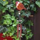 Robin Windchime - 42cm Hanging  Garden Sun Catcher Wind Chimes